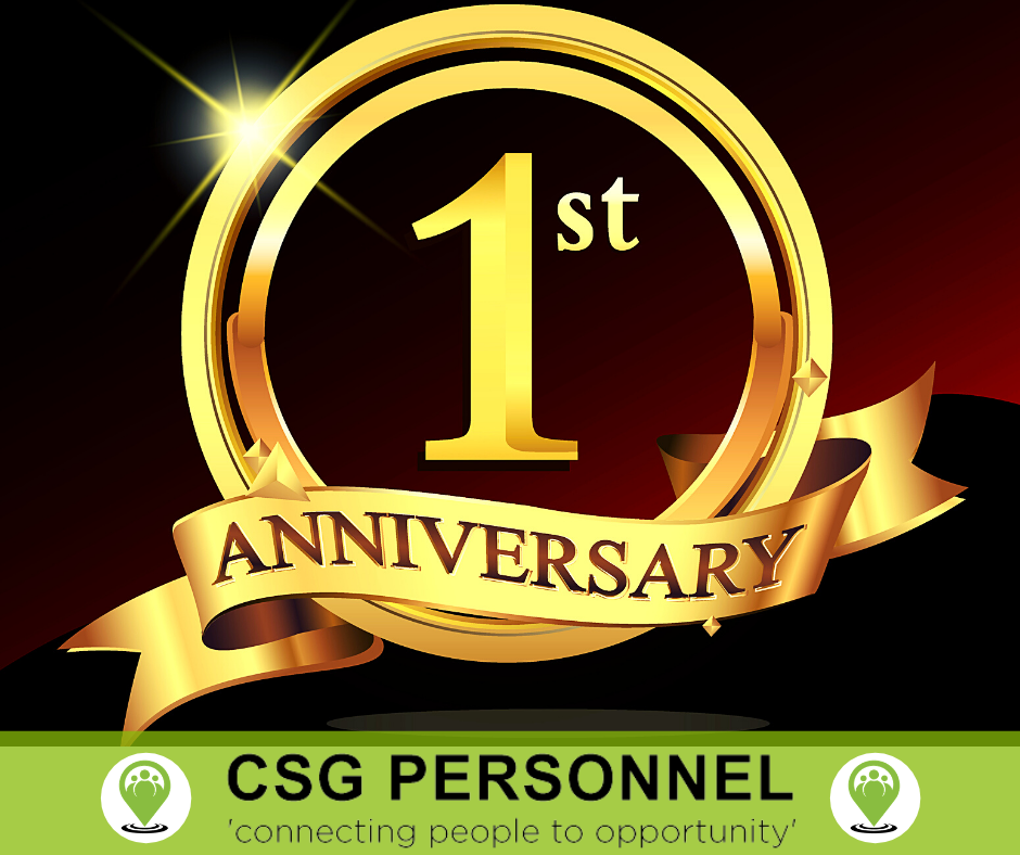 Celebrating CSG Personnel's 1 year anniversary today !